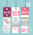 Sale Coupon voucher tag Happy Mothers Day vector image
