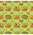 Seamless pattern baskets and fruits vector image vector image