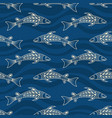 seamless pattern fishes silhouettes australian vector image