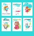 set cards with cute ice skating animals vector image vector image