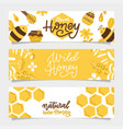 set honey banners trendy hand drawn bee and vector image vector image