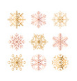 set of golden snowflakes on vector image