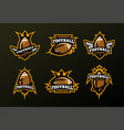 set of sports logos games in american football vector image vector image