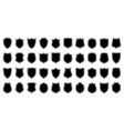 set various vintage shield icons black vector image