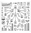 Sketch doodle set of icons vector image