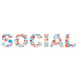 Social word with media icons texture vector image vector image