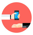 Two Business Man Hands with Phone Circle Icon vector image