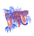 two graphic tigers standing among the exotic vector image vector image