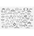 various hand drawn crowns set vector image