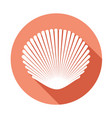 white seashell flat icon with long shadow on vector image vector image