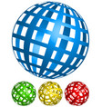 wire-frame grid spheres 4 angles in 4 colors vector image
