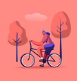woman cyclist riding bike outdoors in summer day vector image
