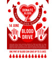 world blood donor day donation poster vector image vector image