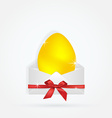 yellow egg in envelope with bow ribbon gift vector image vector image