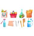 zero waste goods net reusable bags wooden comb vector image