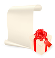 Elegant background with gift box and sheet of pape vector image