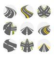 curving road set roads logo set in grey vector image