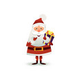 santa claus with gift and present box happy vector image