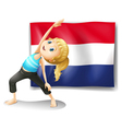 A girl in front of the flag of Netherlands vector image vector image