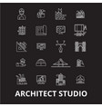 architect studio editable line icons set on vector image vector image