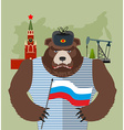 Bear with ear flaps with flag of Russia Background vector image vector image