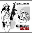 beautiful woman holding a gun vector image vector image