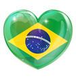 brazil flag love heart vector image vector image