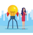 businesswoman with bulb light idea vector image vector image