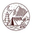 camping at night line vector image
