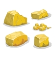 Cartoon golden ore or stone for game design Set vector image vector image