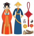 china man and woman east culture chinese vector image vector image