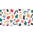 christmas seamless pattern sock tree snow flakes vector image vector image