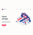 cloud storage concept isometric landing page 3d vector image vector image