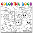 coloring book happy animals near farm vector image vector image