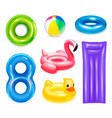 colourful swimming toys set vector image vector image