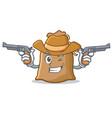 cowboy sack character cartoon style vector image