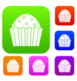 cup cake set color collection vector image vector image