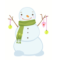 cute Christmas snowman wearing a scarf vector image vector image