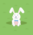 cute white rabbit popping out a hole easter vector image vector image