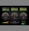 decibel sound meter with equalizer and buttons vector image