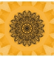 Elegant mandala-like pattern on yellow seamless vector image vector image