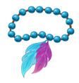 feather bracelet on white background vector image vector image
