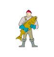 Fishmonger Standing Salmon Fish Cartoon vector image