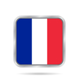 Flag of France Shiny metallic gray square button vector image vector image