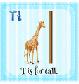 Flashcard letter T is for tall vector image