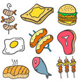 food various style of doodles vector image vector image