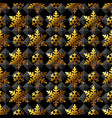 golden snowflakes on black papper seamless pattern vector image vector image