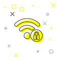 grey wifi locked sign line icon isolated on white vector image vector image