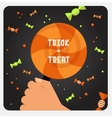 Halloween trick or treat card design vector image vector image