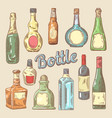 hand drawn set different bottles for drinks vector image vector image